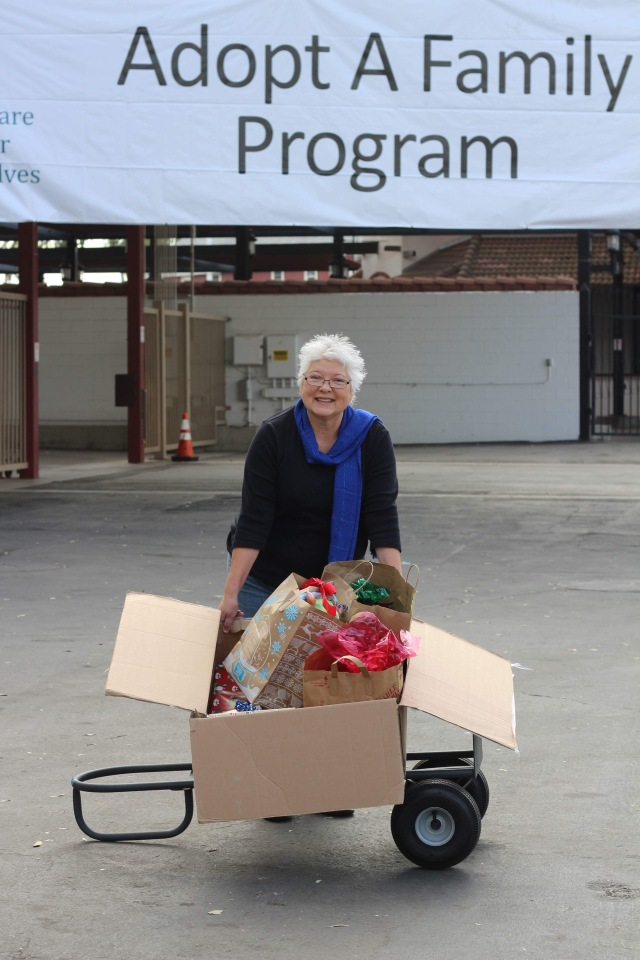 Liz Courselle at Gift Drop Off site