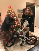 Sue, Carmen & Diggity Dog ready to give away a new bike